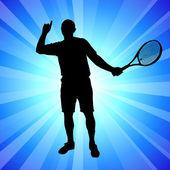 Giocatore di tennis su astratto blu — Vettoriale Stock