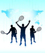 Tennis Players with World Map Background — Vector de stock