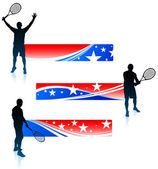 Tennis Player and United States Banner Set — Stock Vector