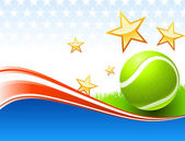 Tennisbal op verenigde staten golf achtergrond — Stockvector