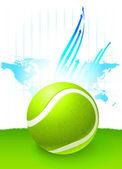 Pelota de tenis con fondo de mapa de mundo — Vector de stock