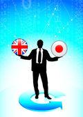 бизнесмен, великобритании и японии интернет флага кнопки — Cтоковый вектор