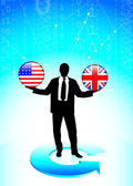 Businessman Holding United States and British Internet Flag But — Stock Vector