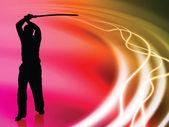 液体波背景に剣を持つ空手の先生 — ストックベクタ