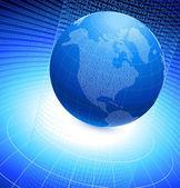 Globo binário em fundo azul — Vetorial Stock