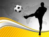 世界地図背景サッカー選手 — ストックベクタ