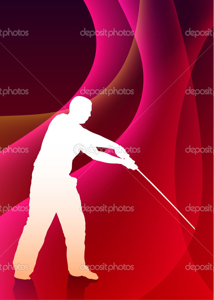 Karate Sensei with Sword on Abstract Violet Wave BackgroundOriginal Illustration — Stock Vector #6510633