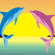 Stock Vector: Family of dolphins