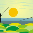 Vector de stock : Fishing at sunrise