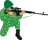 Le soldat avec un fusil — Vecteur
