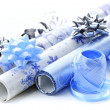 Christmas wrapping paper rolls — Stock Photo