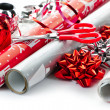 Christmas wrapping paper rolls - Stock Photo