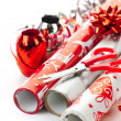 Stock Photo: Christmas wrapping paper rolls