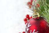 Red Christmas ornament border — Stock Photo