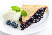 Blueberry pie slice — Stock Photo