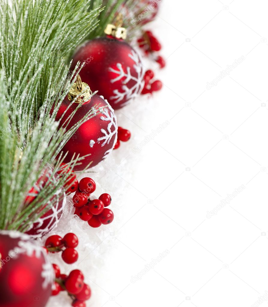 Red Christmas decorations with pine branches with copy space — Foto Stock #6648852