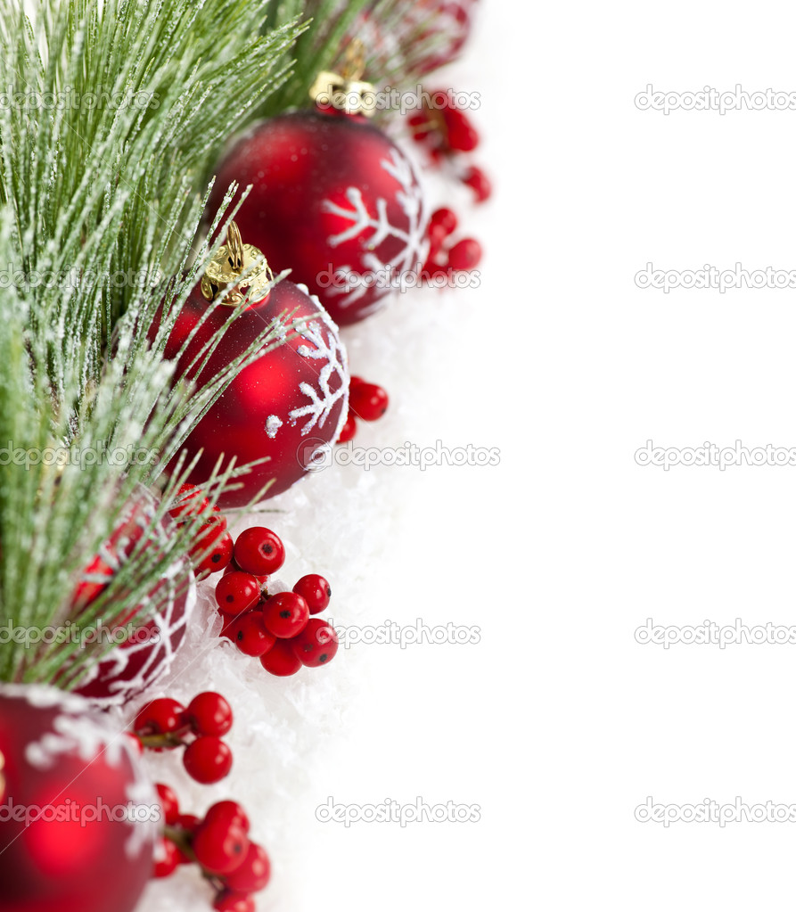 Red Christmas decorations with pine branches with copy space — Stok fotoğraf #6648852