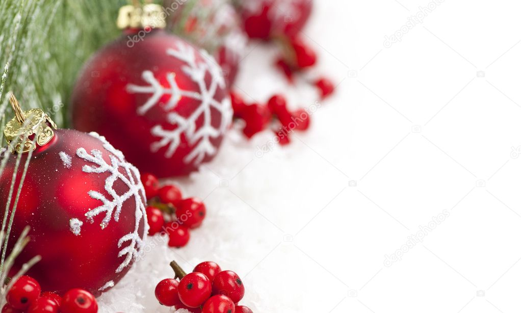 Red Christmas decorations with pine branches with copy space  Stock Photo #6648855