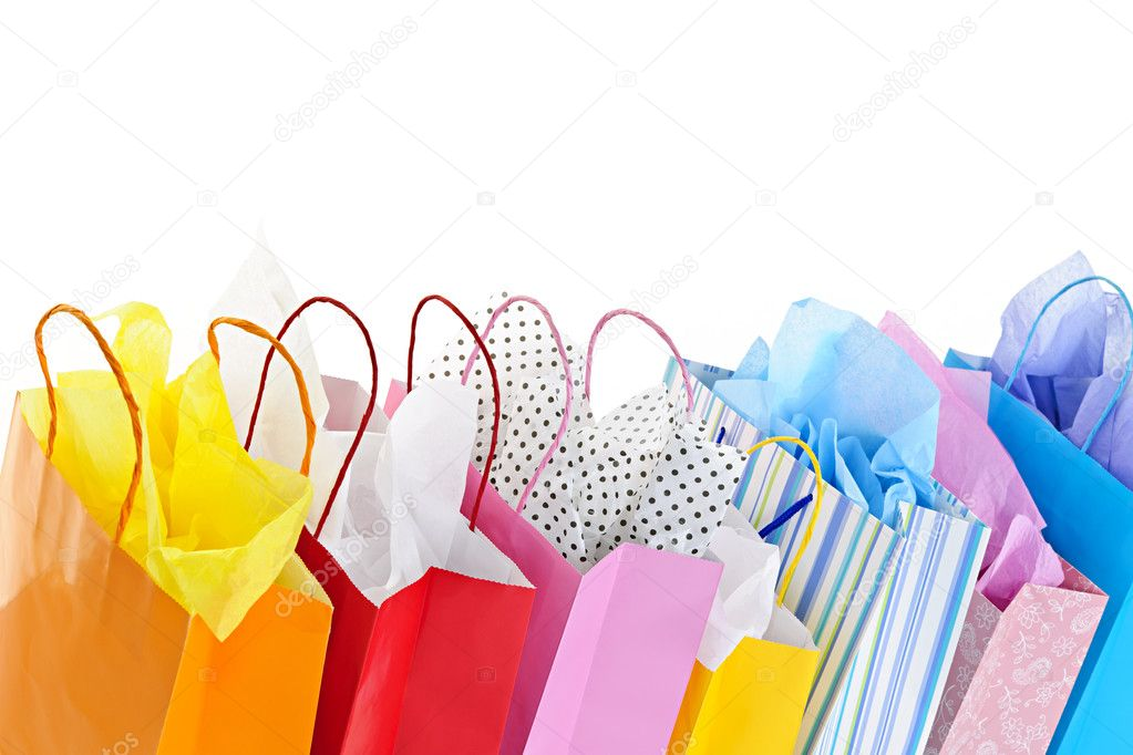 Many colorful shopping bags on white background — Stock Photo #6649342