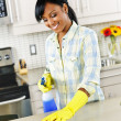 Stock Photo: Young woman cleaning kitchen