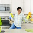 Young woman cleaning kitchen - Photo