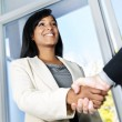 Business womshaking hands — Stock Photo #6651106