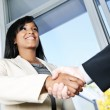 Business woman shaking hands — Foto de stock #6651122