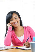 Happy female student studying — Stock Photo