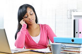 Thoughtful female student studying — Stock Photo