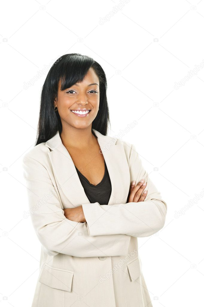 Smiling black businesswoman with arms crossed isolated on white background  Stock Photo #6650728