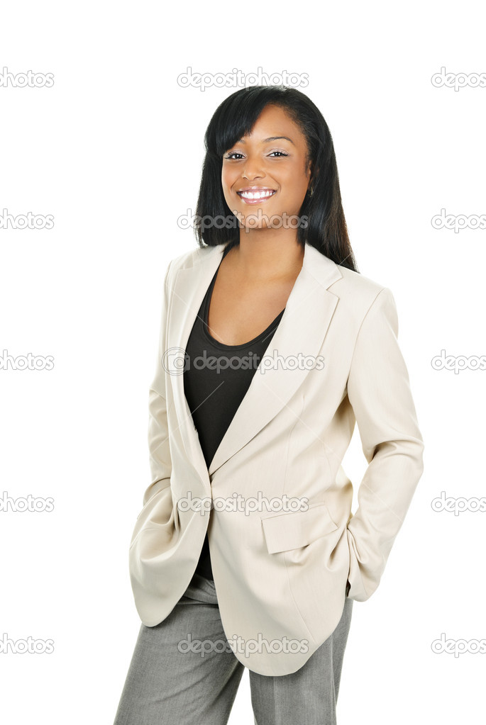 Happy young black businesswoman standing isolated on white background — Stock Photo #6650741