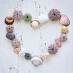 Heart of seashells and rocks — Stock Photo