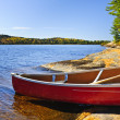 Red canoe on shore — Stock Photo #6696699