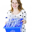 Young woman holding recycling box — Stock Photo #6697109