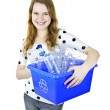 Young woman holding recycling box — Stock Photo #6697112