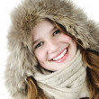 Smiling winter girl — Stockfoto