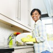 Happy young woman washing dishes — Stock Photo #6697397