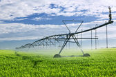 Attrezzatura per l'irrigazione su campo di fattoria — Foto Stock