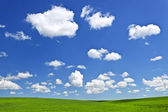 Green rolling hills under blue sky — Stock Photo