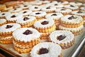 Cookies on baking tray — Stock Photo