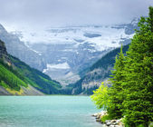 Lake Louise with mountains — Stock Photo