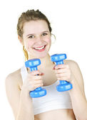 Fit active girl exercising with weights — Stock Photo