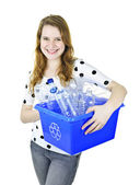 Young woman holding recycling box — Stock Photo