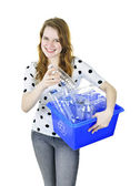 Young woman with recycling box — Stock Photo