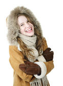 Laughing winter girl in hood — Stock Photo