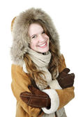 Happy winter girl in hood — Stock Photo
