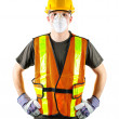 Construction worker wearing safety equipment - Stock Photo