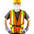 Construction worker wearing safety equipment — Stock Photo