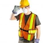 equipo de seguridad usando construcción obrero — Foto de Stock
