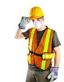 建筑工人戴着安全设备 — 图库照片